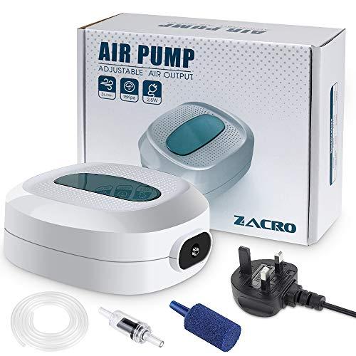 Zacro 2.5w Aquarium Air Pumps, Ultra Quiet, Flow 3L / Minutes, Adjustable Air...