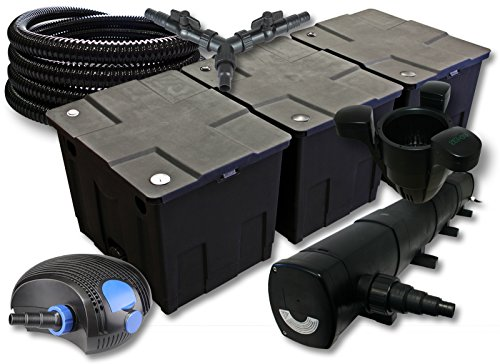 SunSun Filter Set für 90000l Teich mit 72W Teichklärer und 100W ECO Pumpe 25m Schlauch Skimmer SK40