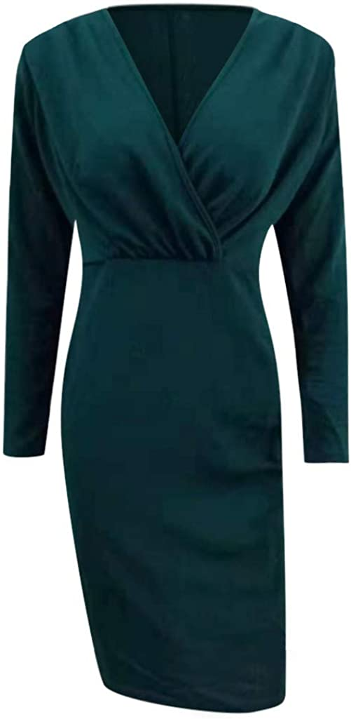 Gergeos Womens Fashion Sexy Deep V-Neck Skinny Long Sleeve Vintage Office Work Party Dresses