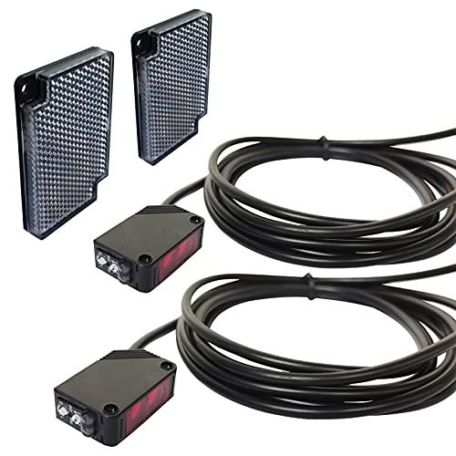 STBTECH Pack de 2 sensores de barrera luminosa, montaje en pared interior NPN (NO o NC conmutable) reflectante, espejo reflexión con cable de 2 m, placa reflectora, distancia de inducción de 3 m