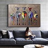 HYLBH Pintura Mural Cebra Abstracta Arte De La Lona Pinturas En La Pared Animales Coloridos...