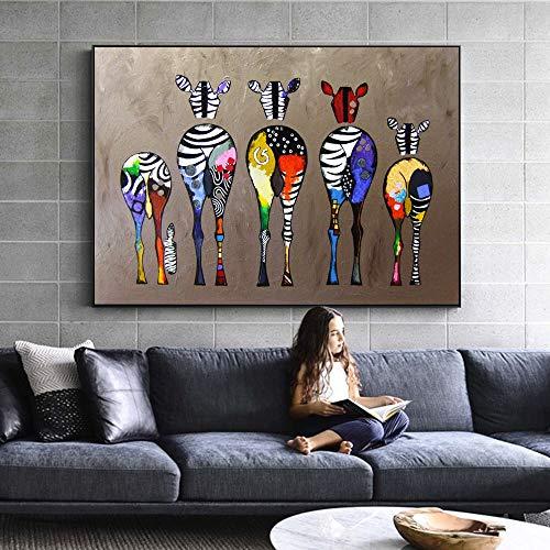 HYLBH Pintura Mural Cebra Abstracta Arte De La Lona Pinturas En La Pared Animales Coloridos Impresiones De Arte Animales Africanos Cuadros del Arte para La Pared De La Sala De Estar
