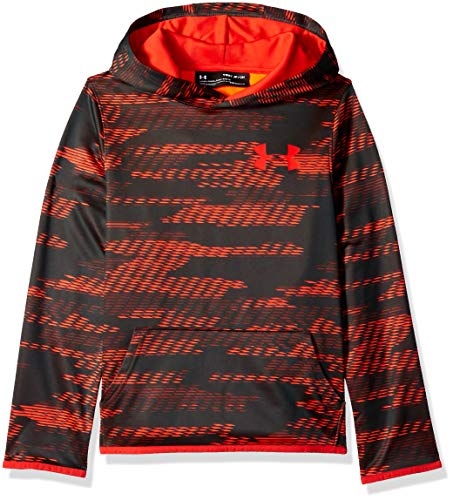 Under Armour Boys Armour Fleece Allover Printed Hoodie, Charcoal Light Heath (019)/Radio Red, Youth Small