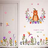 Flowers Bird Bear Wall Stickers Nursery Nursery Nursery Baby Nursery Room Decorative Wall Stickers Mural art90X60cm