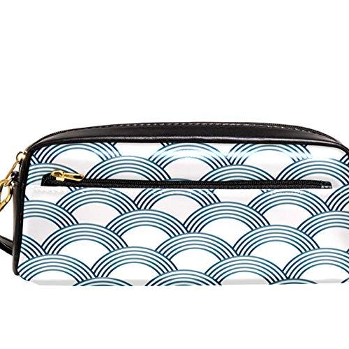 Bolsas de cosméticos para mujer, impermeable, organizador de artículos de aseo de viaje con compartimentos duales, colección 2 cámaras independientes con cremallera, estuche Sashiko Scales blanco azul