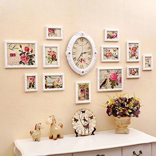 XAGB Reloj de pared con foto, combinación de 12 piezas, marco de fotos, sala, dormitorio, pared creativa