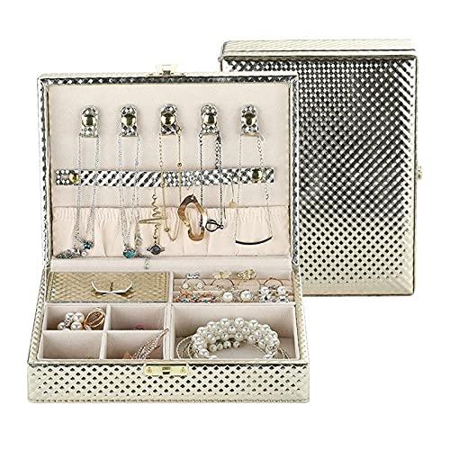 Kudiro Caja de almacenamiento de joyería Anillo Pulsera Pendiente Caja de Embalaje de joyería Anillo Collar Lock Reloj Joyero (Oro)