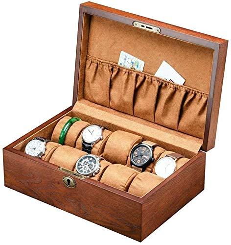JSDKLO Watch Display Storage Box Storage Box, Sleek Minimalist 10 Trough Wooden Watch Box Display and Storage Organization Series Box Jewelry Storage Box