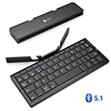 iClever Bluetoothキーボード 折りたたみ式 二つ折り スタンド一体型 Bluetooth5.1軽量 薄型 ワイヤレスキーボード iPad iPhone用 iOS/Android/Windowsに対応 IC-BK11(ブラック)