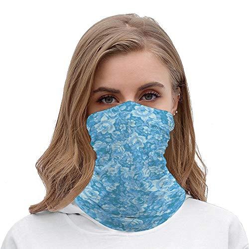 Pretty Blue Floral Unisex Multifunctional Bandana Neck Gaiter Tube Headwear headkerchief, Motorcycle Face Mask Bandana Headband for Women Men Face Scarf