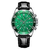 SCIDS Orologio da uomo 42 millimetri verde acqua fantasma calendario casual pelle orologio al quarzo impermeabile orologi luminosi per gli uomini (colore: verde cipresso)