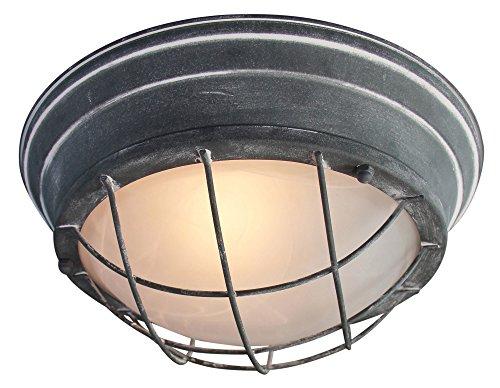 Vintage Wandleuchte/Deckenleuchte, Ø 29cm, im Industrial Used-Look, 1x E27 max. 60W, Metall/Glas, grau Beton