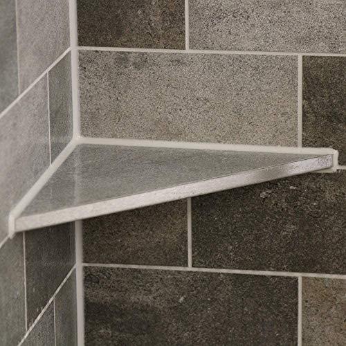 THiRi-ECK Eckablage Duschablage ohne Bohren für Bad befliesbar V2A Edelstahl (225 x 225 x 318,20 mm)