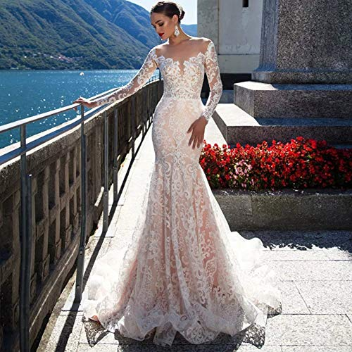 SWEETQT Vestido de Novia Vestido de Casamento Vestido de Novia de Sirena de Lujo Vestido de Manga...
