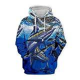 Men Women 3D Tropical Fish Printed Hoodie Long Sleeve Pullover Hooded Sweatshirts Tops Blouse K1 4XL
