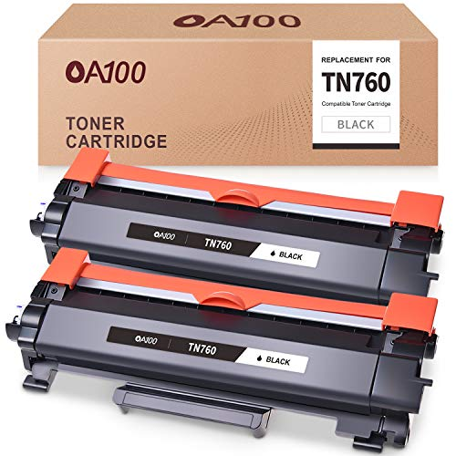 OA100 Compatible Toner Cartridges Replacement for Brother TN760 TN730 TN-760 TN-730 for MFC-L2710DW MFC-L2750DW HL-L2395DW HL-L2350DW HL-L2370DW (Black, 2-Pack)