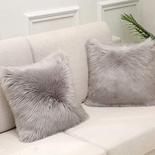 Julycoolmall Almohada cuadrada decorativa suave mullida, de piel sintética, fundas de almohada mullidas y suaves para sofá, dormitorio, sala de estar (gris, 50 x 50 – 1 unidad)