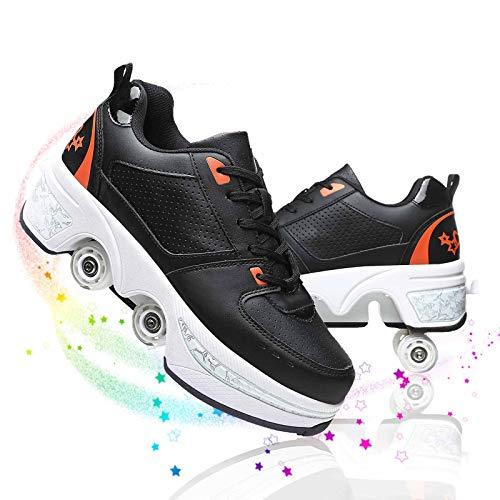 Deformación Patines De Ruedas para Niños Multifuncional Ajustables Doble Propósito Zapatos Deportivos Patines para Principiantes De Diseño Elegante,Black+Orange,40
