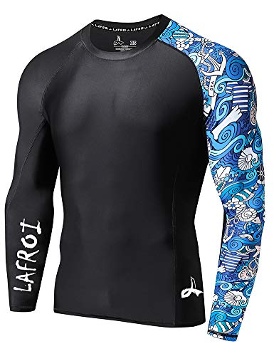 LAFROI Men's Long Sleeve UPF 50+ Baselayer Skins Performance Fit Compression Rash Guard-CLYYB Asym Fantasy Size MD