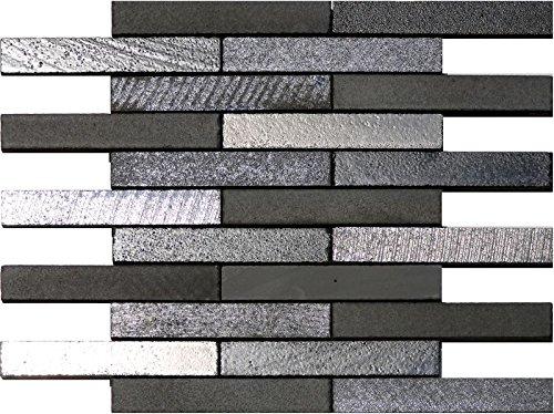 1 Netz Natursteinmosaik Basalt schwarz Verband Muretto