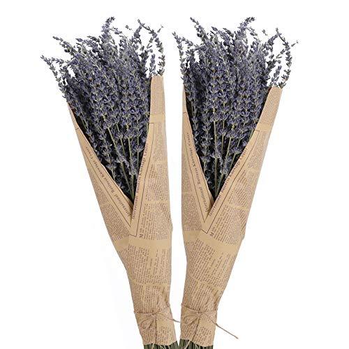 HO2NLE 2 Bundles Dried Lavender Bundles Natural DriedLavenderFlowers Bouquet for DIY Home Weeding Decoration Home Fragrance