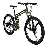 Eurobike Mountain Bike TSM G4 Bicycle Mens Bikes 26 Adult Bike Folding Bike ArmyGreen