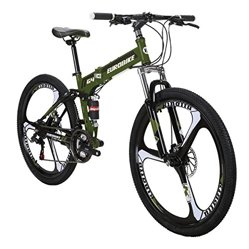 Eurobike Folding Bike G4 21 Speed Mountain Bike 26 Inches 3-Spoke Wheels MTB Dual Suspension Bicycle (ArmyGreen)