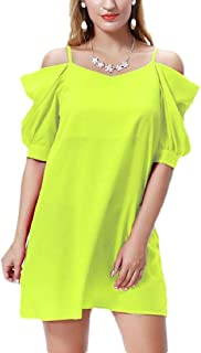Women Cold Shoulder Dress Cut Out Shoulder Cami Mini Dress