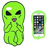 Artbling Case for iPhone 5 5S 5C Silicone 3D Cartoon Animal Cover,Kids Girls Boys Cool Cute Gost Cases,Kawaii Soft Gel Rubber Unique Fun Character Fashion Funny Protector for iPhone5 (Green Alien)