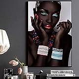 Quadro Senza Cornice Moderna Donna nera Africana Labbra e unghie Poster su Tela e stampe murali in salotto 50X75cm