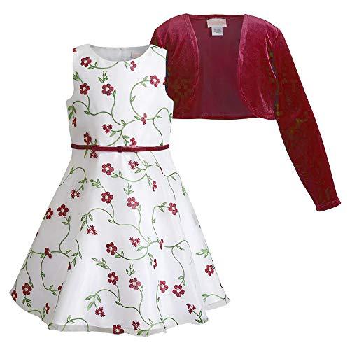 Youngland Mädchen Organza Petticoat Kleid mit Stickerei inkl. Samt-Bolero ab Gr. 98 bis 116 Größe 110