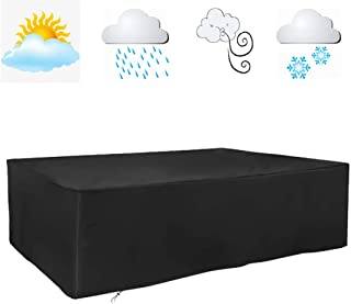 FLR 120inches Patio Table Cover Veranda Rectanguler Black Waterproof Outdoor Dinner Protector Dust-Proof Table Desk Cover ...