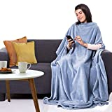 CANDY CANE Premium Wearable Fleece Blanket 70'x50' with Three Holes - Super Soft, Lightweight, Microplush, Cozy and Functional Throw Blanket for Adult, Women and Men (Heavenly Blue)