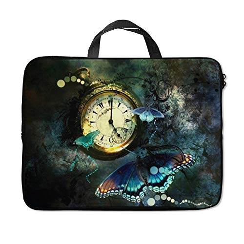 Britimes Laptop Sleeve Case Protection Bag Waterproof Neoprene PC Cover Water Resistant Notebook Handle Carrying Computer Protector Vintage Clock Butterfly 11 12 13 inches
