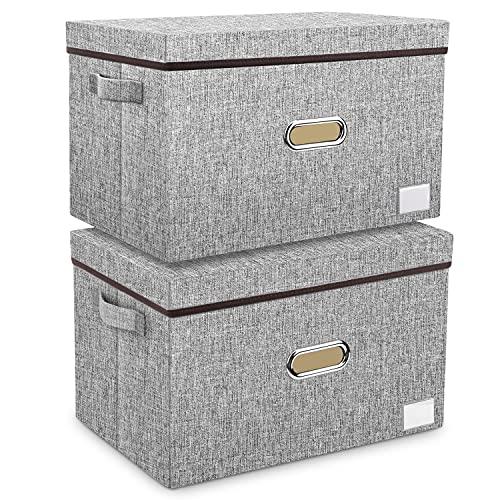 Caja de almacenaje con tapa grande de tela, 2 unidades, lavable, caja de tela plegable en forma de cubo para armario, cama, habitación de los niños, baño