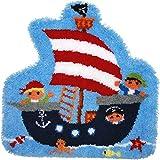 Vervaco Alfombra con Forma de Gancho, Barco Pirata, Mezcla de algodón, Colores Variados, 32.5 x 5 x 32 cm