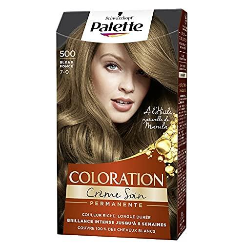 Schwarzkopf - Palette - Coloration Permanente Cheveux - Crème Soin - Couvre 100% des Cheveux Blancs - Tenue 8 semaines - Blond Foncé 500