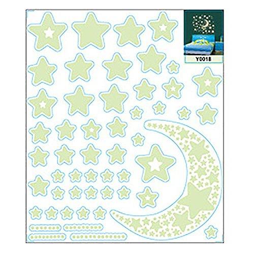 VANKER DIY Stickers muraux Lune et Étoiles Lumineuses Fluo Phosphorescent en Chambre d'enfant Autocollant