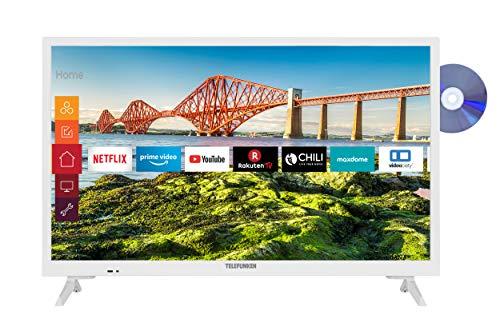 Telefunken XH24J501VD-W 24 Zoll Fernseher (Smart TV inkl. Prime Video / Netflix / YouTube, HD ready, DVD-Player, 12 Volt, Works with Alexa, Triple-Tuner) [Modelljahr 2021]