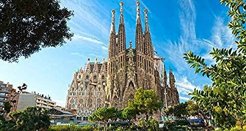 Jigsaws Puzzles 1000 Piezas para Adultos Barcelona Sagrada Familia DIY Arts Style Imagen de Animal para decoración de Sala de Estar Juguetes de Madera Juegos Divertidos Educativos