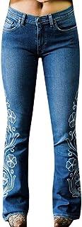RISTHY Mujer Pantalones Acampanados Bordados Casual Vaqueros Retro Ocios Cintura Alta Jeans de Mujer Ancho Pierna Elástica...