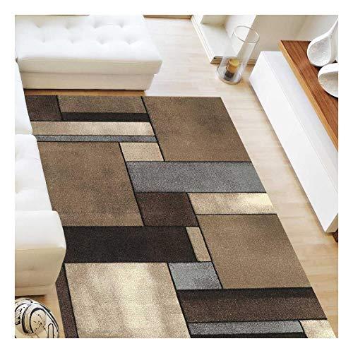 UN AMOUR DE TAPIS 160x230 Tapis Salon Moderne Design Géométrique Poils Ras - Grand Tapis Salon Rectangulaire - Tapis Chambre Turquoise - Tapis Beige