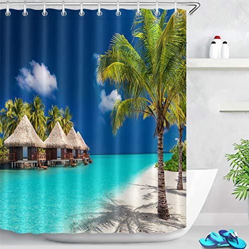 LB Tropischer Strand Duschvorhang Blau Ozean Palmen und Insel Bad Vorhänge Polyester Stoff Wasserdicht Anti Schimmel Badezimmer Deko mit Vorhanghaken,150X180cm