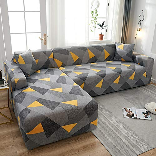 Fundas de sofá Chaise Longue Impresas en Forma de L para Sala de Estar Protector de sofá Fundas elásticas Antipolvo para sofá de Esquina A18 de 3 plazas