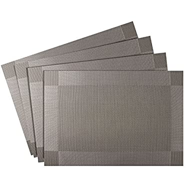 Nuovoware Placemats, [4 PACK] 30 x 45 cm Premium Exquisite Crossweave Stain Resistant Heat-resistant Non-slip Textilene Woven Plaid Kitchen Table Dining Mat Pads Place Mats, Silver