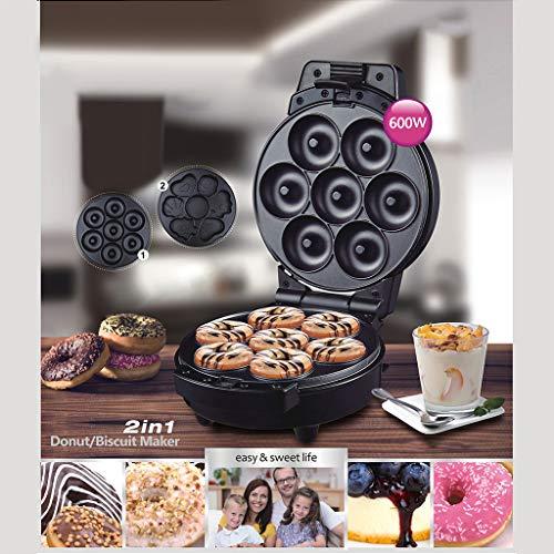 Donut Maschine | Kekse Maschine 2 In 1, Mini Donut Maker Cupcake Maker Für Kinderfreundliches Frühstück, Snacks, Desserts & Mehr Mit Antihaft-oberfläche, Macht 7 Donuts, Schwarz