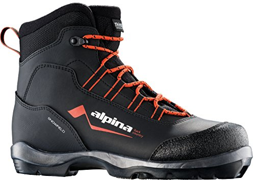 Alpina Sports Snowfield Backcountry Cross Country Nordic Touring Ski Boots, Black/Orange/White, Euro 45