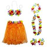 LUX ACCESSORIES Halloween Multicolor Tropical Hawaiian Lei Flower Floral Set 6PC