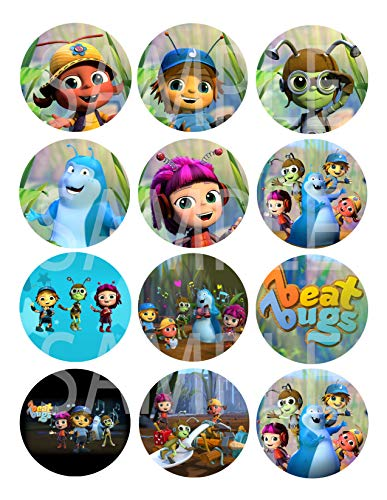 """DJz Dealz Beat Bugs Large 2.5"""" Round Circle DIY Stickers to Place onto Party Favor Bags, Cards, Boxes or containers -12 pcs, Jay, Buzz, Crick, Kumi, Walter"""