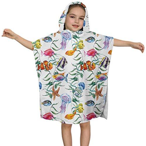 Toalla con capucha para niños, arrecife de coral tropical con algas marinas, medusas acuáticas de agua salada Nemo, 24 x 24 pulgadas, toalla de playa suave para niños de 3 a 7 años